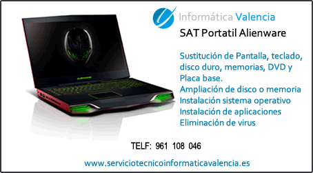servicio tecnico portatil Alienware Antella